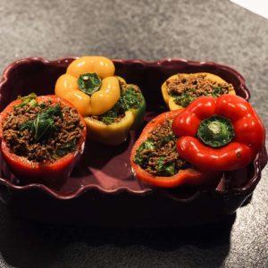 Fylld paprika med tacokryddad köttfärs och grönkål